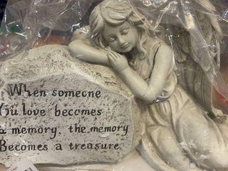 Napco 11293 Memory Becomes A Treasure Memorial Plaque With Sleeping Angel Garden