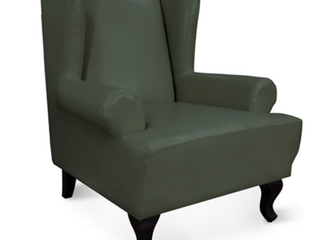 Easy Going  large Eind Chair  Stretch leather Slipcovers  Dark Gray