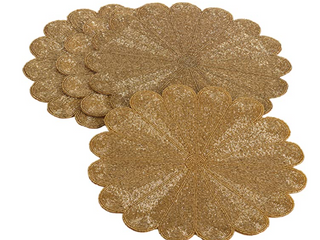 Gold Flower Table Place Mats   Set of Five