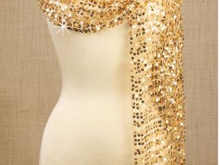 Shiny Beauty   Pashmina   Gold Sequin