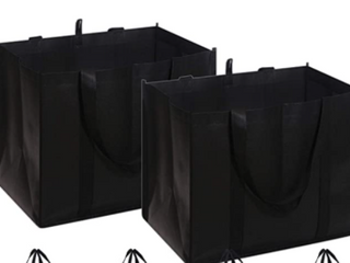 Reusable Grocery Bags  Black  Set of 3