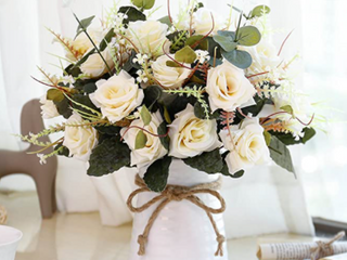 Artificial Flowers With White Vase