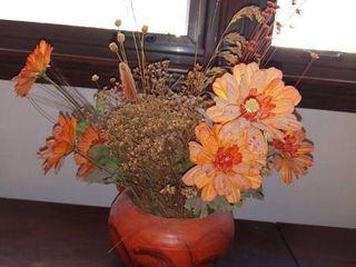 Plastic Autumn Flower Arrangement in Ceramic Bowl