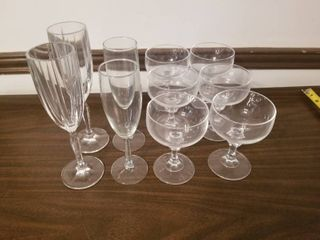 lot of Four Champagne and Six Whiskey Glasses with Stems
