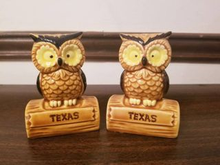 Set of Texas Owl Salt and Pepper Shakers