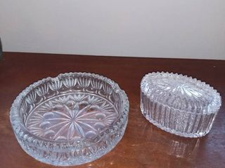 lot of 2 Etched Crysyal Glass Ashtray and Glass Container with lid