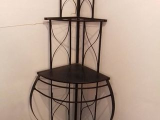 Black Corner Metal and Wooden Shelf Made in China