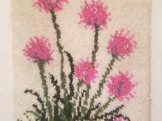 Pink Flowers Hook latch Hook Wall Art