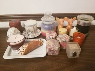 lot of Assorted Candles and Candle Holders