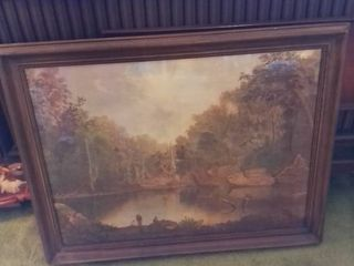 Framed Photo Depiction of lake and Forest