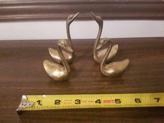 Set of Four Brass Swans