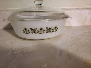Pyrex Green Flower Design 1 5 QT