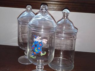 lot of 3 Glass Candy Jars with lids