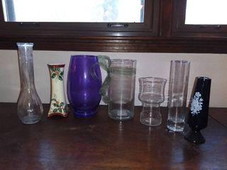 lot of 7 Various Flower Vases