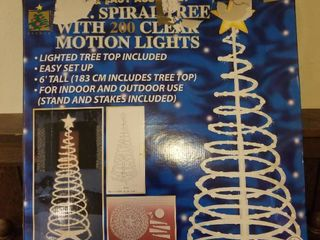 Six Foot Spiral Tree With 200 Clear Motion lights  Tested and Working