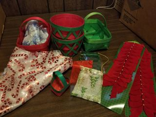 Assorted Christmas Baskets  Bows  Etc