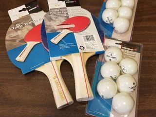 Two Table Tennis Paddles  Two Packages of Table Tennis Balls  like New