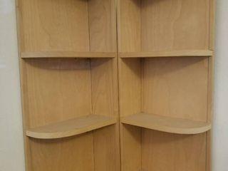 Two Tan Corner Shelves