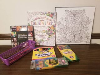 lot of Art Supplies and Unused Coloring Book