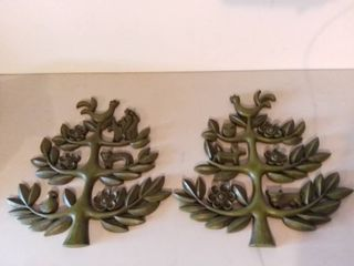 lot of 2 Plastic Wall Hanging Decorations Depicting a Tree with Animals and Flowers Mirroring One Another Made in USA