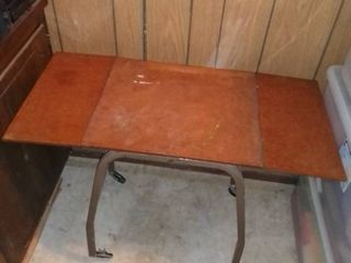 Wooden Table Top with Metal legs and Wheels with Foldable Top