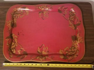 Red with leaves and Grapes Metal Serving Tray