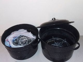 lot of 2 large Metal Pots with Canning Supplies