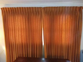 MCM Burnt Orange Curtains and Sheer Peach Curtains with Brackets