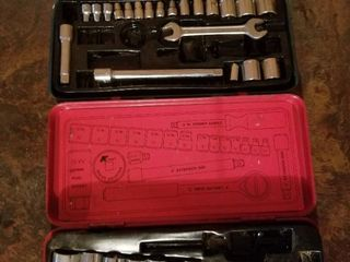 Assorted Sockets in Metal Tool Boxes