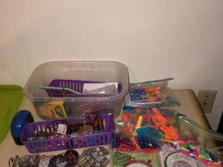 lot of Childrenas Toys and Craft Supplies   Paints Erasers Pencil Jellies Etc  location Master Bedroom