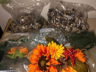 lot of Crafting Supplies   Plastic Autumn Themed Flowers Small Rocks and Pebbles and Greenery location Master Bedroom
