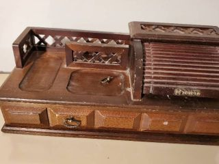 Small Wooden Jewelry Box Tray  with Vintage look   Includes Roll Top and Drawer