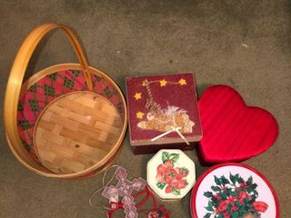 lot of Small Trinkets with Basket and Metal Containers location Spare Bedroom One