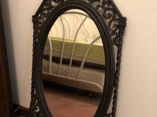 Black Wall Hanging Mirror with Plastic Intricate Frame location Spare Bedroom Two