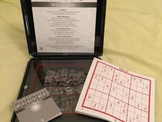Black Sudoku Case With Glass Playing Board and Plastic Game Pieces Includes Solution Book and Games location Spare Bedroom Two