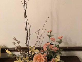 Plastic Flower Arrangement in Wicker Basket location Dining Room