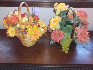 lot of 2 Plastic Flower Basket Arrangements Fall Themed