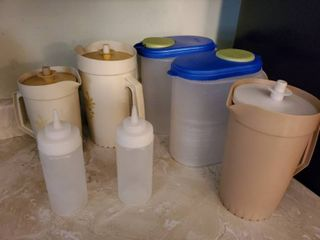 lot of Pitchers with lids  Tupperware  STERlITE  and 2 Squeeze Bottle