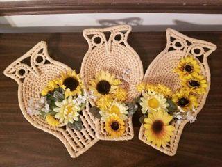 Set of Three Sunflower Owls Wall Decor