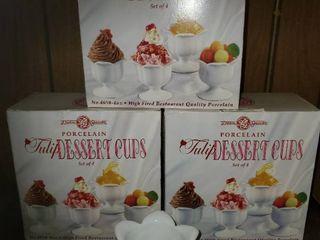 lot of 12 Porcelain Tulip Dessert Cups  3 Boxes