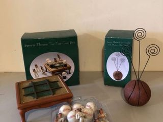 lot of 2 Sports Themed Tic Tac Toe Set and Paperweight with Photo Memo Clip location Storage Room