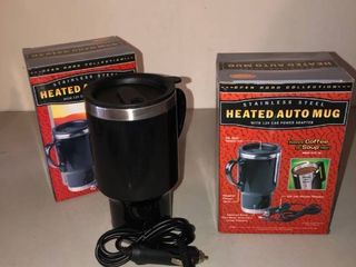 lot of 2 Stainless Steel Heated Auto Mugs with 12v Car Power Adapter location Storage Room