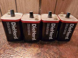 lot of 4 Die Hare 6 Volt Alkaline lantern Batteries