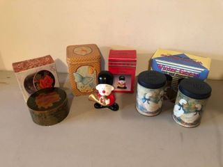 lot of 4 Miscellaneous Household Items   Hand Painted Porcelain Figure Salt and Pepper Shakers Jewelry Box location Storage Room