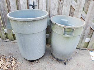 lot of 2 Trashcan Barrel on Wheels