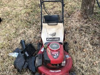 Craftsman 6 5 Horse Power Ready Start 21a Cut lawn Mower with Attachments Unknown Condition location Shed