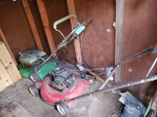 lot of 2 lawnmowers  Unknown Condition  Briggs and Stratton and lawnboy