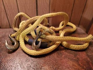 Heavy Duty Yellow Braided Tow Strap  with Hooks