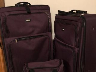 lot of 3 American Flyer luggage Pieces Plum Colored location Garage
