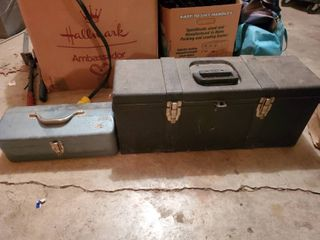 lot of 2 Toolboxes  Turquoise Metal  Black Tuff Box Tools Included